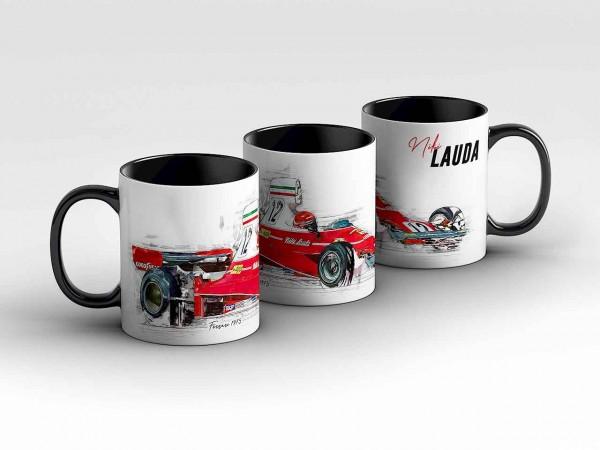 Tasse Motiv: Formel1 Niki Lauda - 1975 - Scuderia Ferrari - Silhouette Kaffeebecher