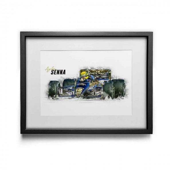 Kunstdruck gerahmt - Ayrton Senna - Lotus - 1985