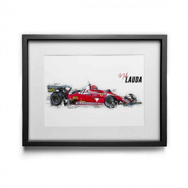 Kunstdruck gerahmt - Niki Lauda - Scuderia Ferrari - 1977