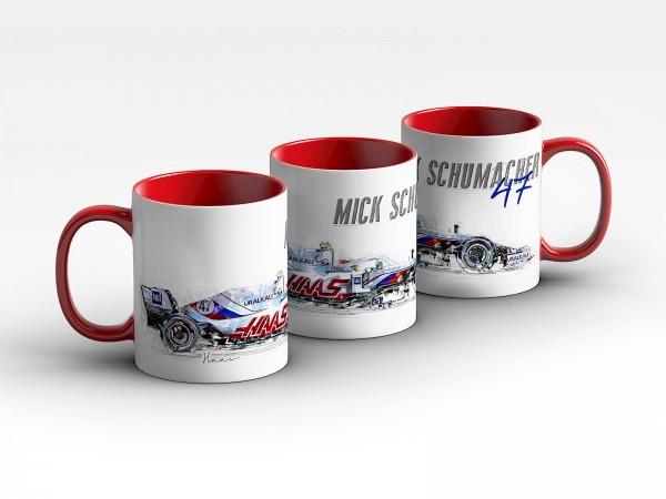 Formel 1 Tasse - Mick Schumacher - Haas F1 Team - 2021 Silhouette Kaffeebecher