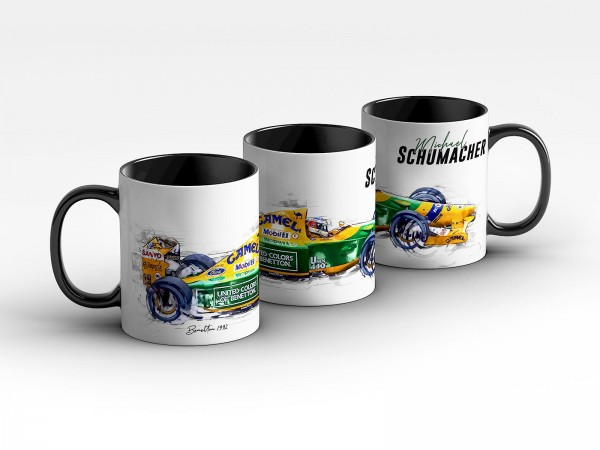 Tasse Motiv: Formel1 Michael Schumacher - Benetton - 1992 Silhouette Kaffeebecher