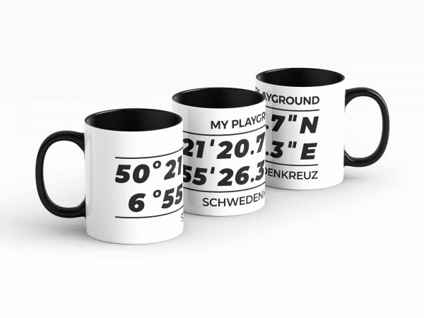 Tasse - GPS Koordinaten - Schwedenkreuz - Kaffeebecher