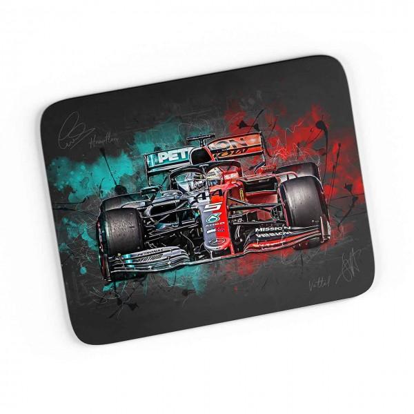 Artwork Mousepad Motiv: Lewis Hamilton - Sebastian Vettel - Mercesdes - Ferrari