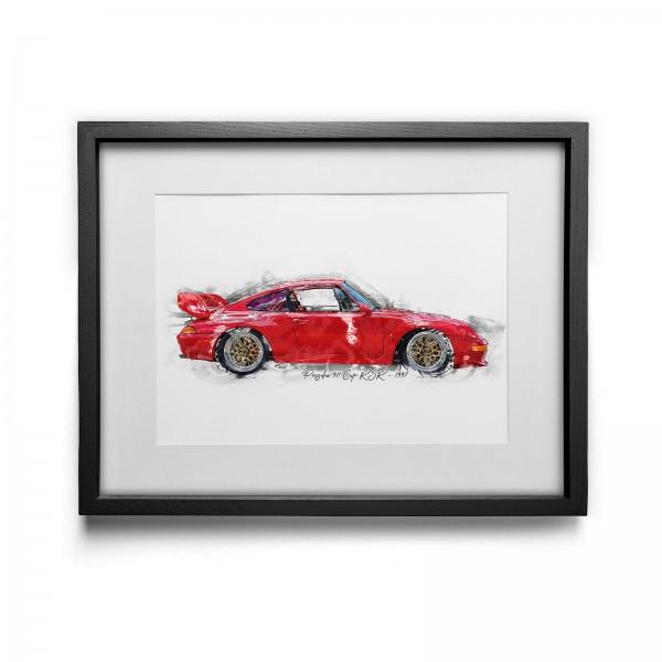 Kunstdruck gerahmt - Porsche 911 Cup RSR - 1997
