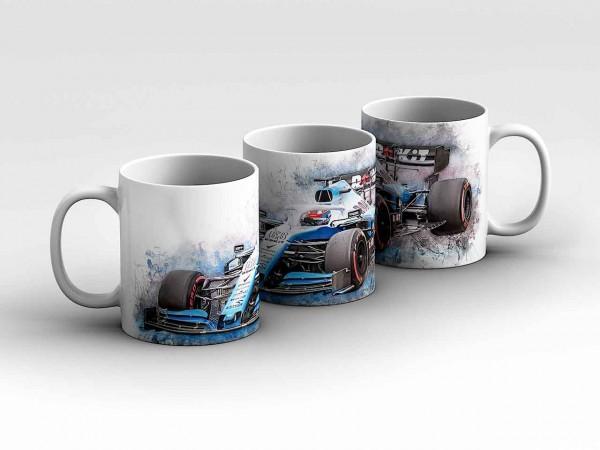 Tasse Motiv: Formel1 George Russell - Rokit Williams Racing - Front Kaffeebecher