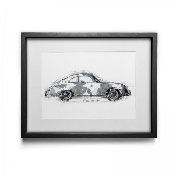 Kunstdruck mit Rahmen Motiv: Porsche 356 - 1956