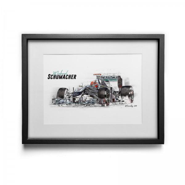 Kunstdruck gerahmt - Michael Schumacher - Mercedes GP Petronas - 2010