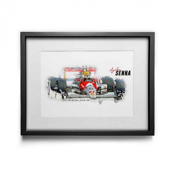 Kunstdruck mit Rahmen Motiv: Ayrton Senna - McLaren Honda - 1990