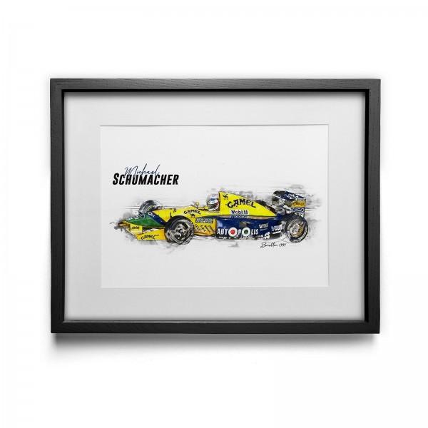 Kunstdruck gerahmt - Michael Schumacher - Benetton - 1991