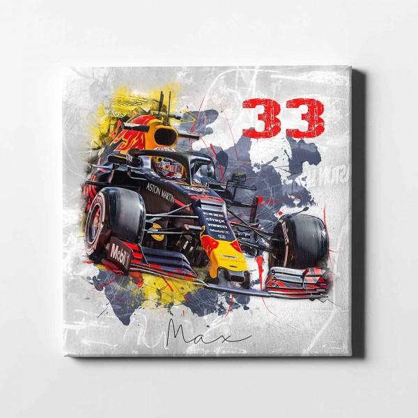 Artwork Leinwanddruck Motiv: Max Verstappen - Aston Martin - Red Bull - 2019