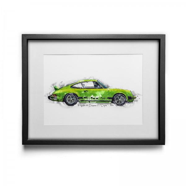 Kunstdruck gerahmt - Porsche 911 Carrera 2.7 Coupe - 1974