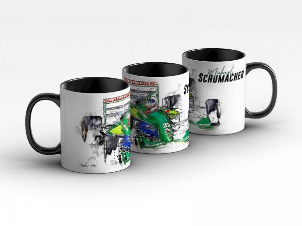 Tasse Motiv: Formel1 Michael Schumacher - Jordan - 1991 Front Kaffeebecher