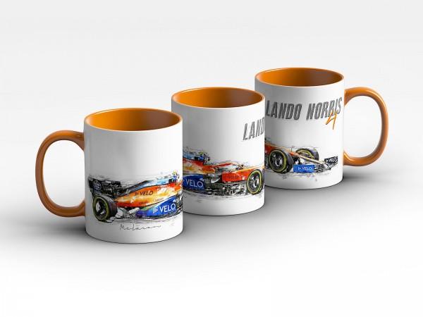 Formel 1 Tasse - Lando Norris - McLaren F1 Team 2020 - Silhouette Kaffeebecher