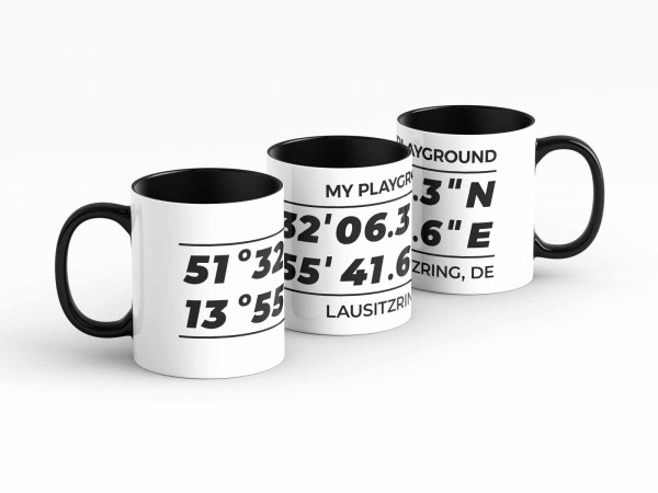 Tasse - GPS Koordinaten - Lausitzring - Kaffeebecher