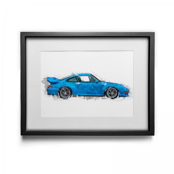 Kunstdruck gerahmt - Porsche 911 GT2 - 1995