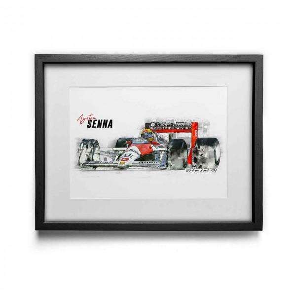 Artwork Print - framed - Ayrton Senna - McLaren Honda - 1988