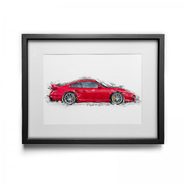 Kunstdruck gerahmt - Porsche 911 GT2 - 2008