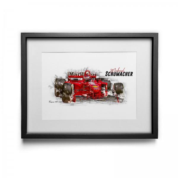 Kunstdruck mit Rahmen Motiv: Michael Schumacher - Scuderia Ferrari - 1997