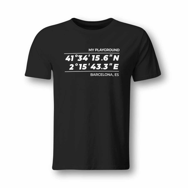 T-Shirt GPS Koordinaten Barcelona