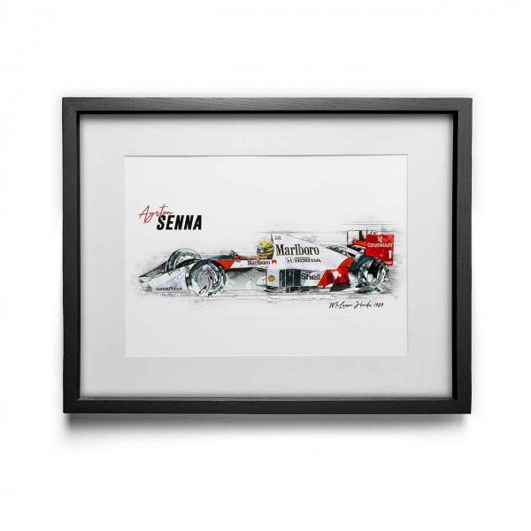 Artwork Print - framed - Ayrton Senna - McLaren Honda - 1989