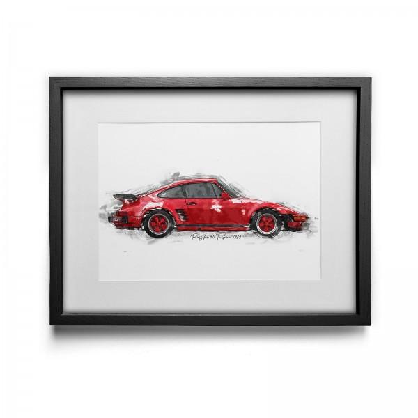 Artwork Print - framed - Porsche 911 Turbo - 1989
