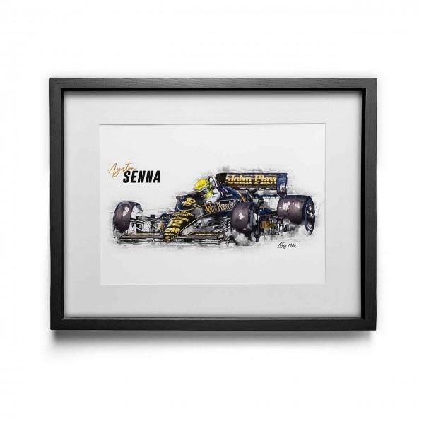 Kunstdruck gerahmt - Ayrton Senna - Lotus - 1986