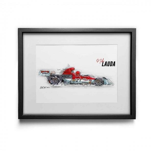 Kunstdruck gerahmt - Niki Lauda - BRM - 1973