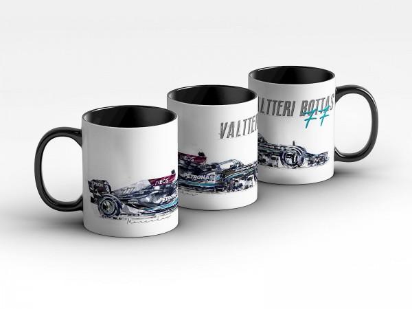 Formel 1 Tasse - Valtterie Bottas - Mercedes-AMG Petronas Formula Team 2021 - Silhouette Kaffeebeche