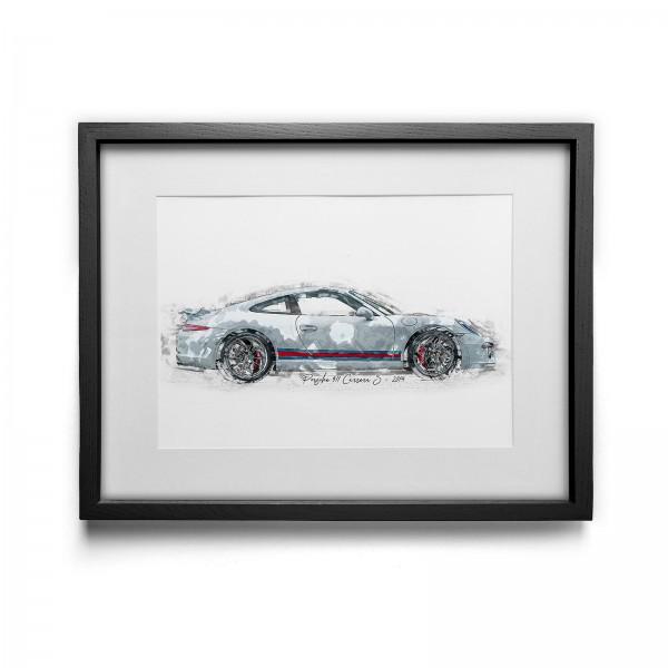 Artwork Print - framed - Porsche 911 Carrera S Martini Edition - 2014