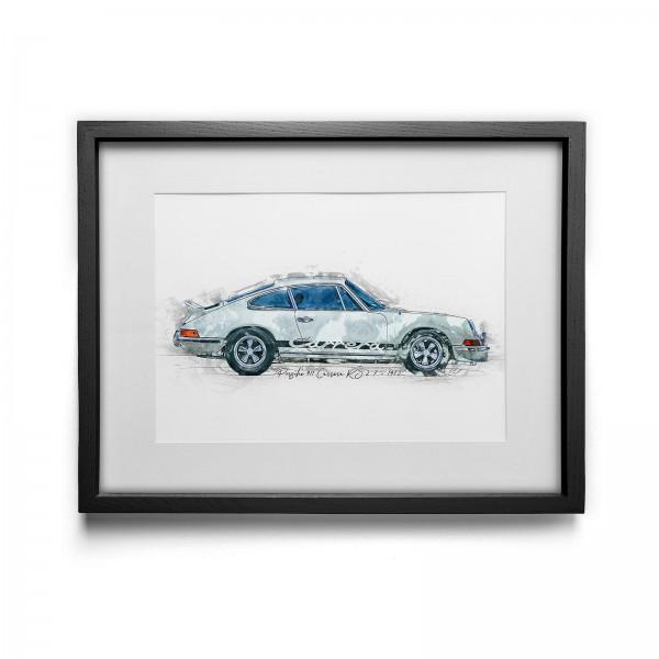 Artwork Print - framed - Porsche 911 Carrera RS 2.7 - 1973 white