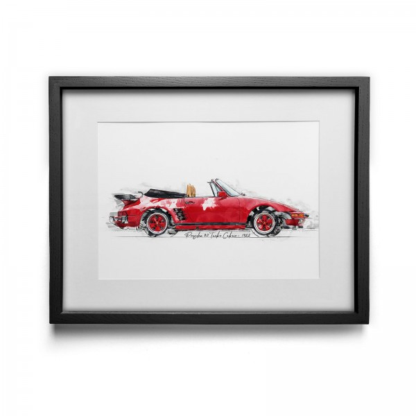 Artwork Print - framed - Porsche 911 Turbo Cabrio - 1988