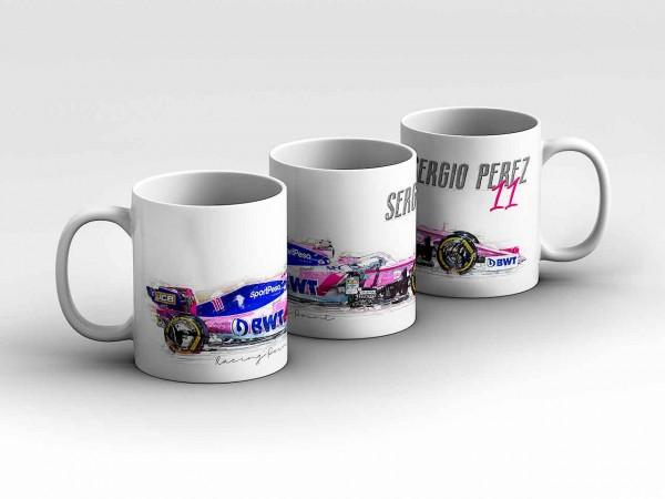 Tasse Motiv: Formel1 Sergio Perez - SportPesa Racing Point F1 Team - Silhouette Kaffeebecher