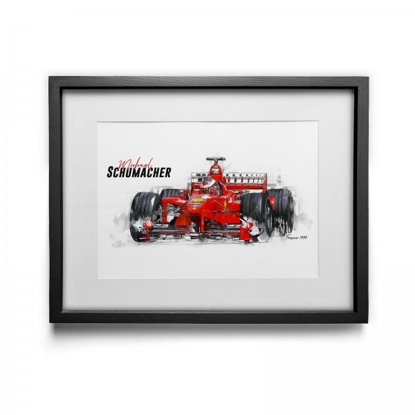 Kunstdruck gerahmt - Michael Schumacher - Scuderia Ferrari - 1999