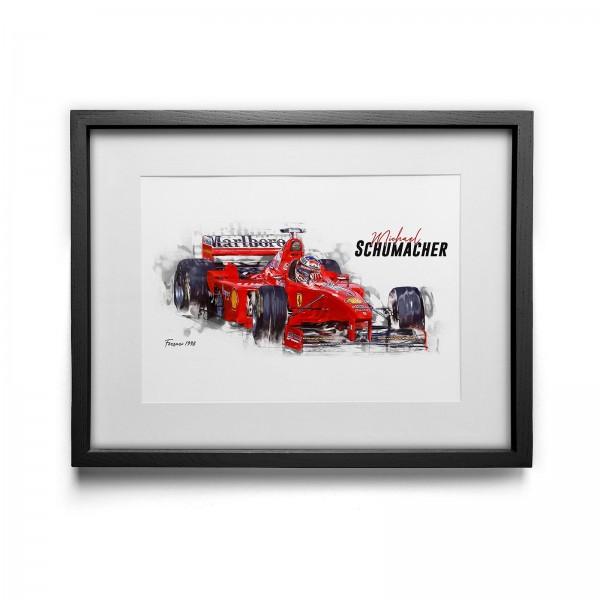 Kunstdruck gerahmt - Michael Schumacher - Scuderia Ferrari - 1998