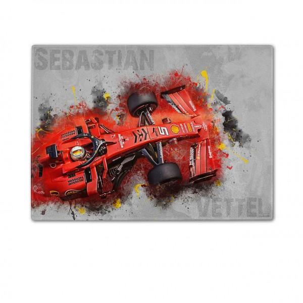 Schneidebrett Artwork Motiv: Formel1 Sebastian Vettel - Ferrari - 2019