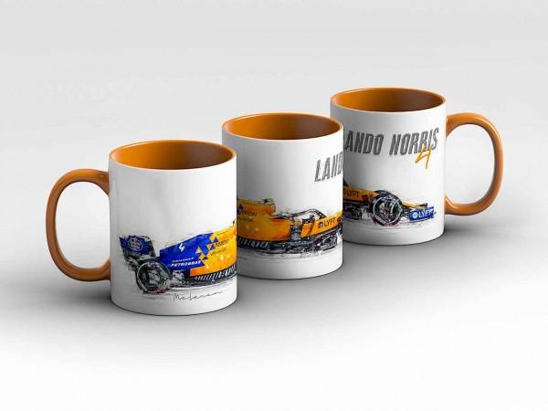 Tasse Motiv: Formel1 Lando Norris - McLaren F1 Team - Silhouette Kaffeebecher