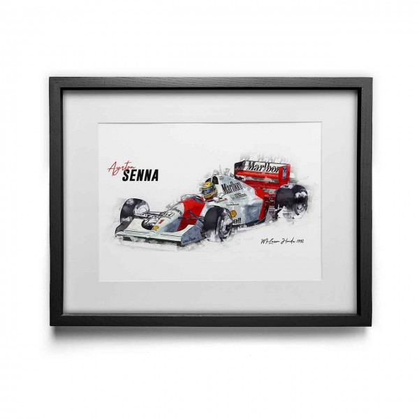 Kunstdruck mit Rahmen Motiv: Ayrton Senna - McLaren Honda - 1992