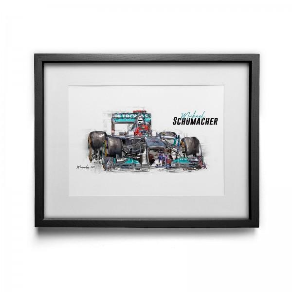 Artwork print - framed - Michael Schumacher - Mercedes GP Petronas - 2011