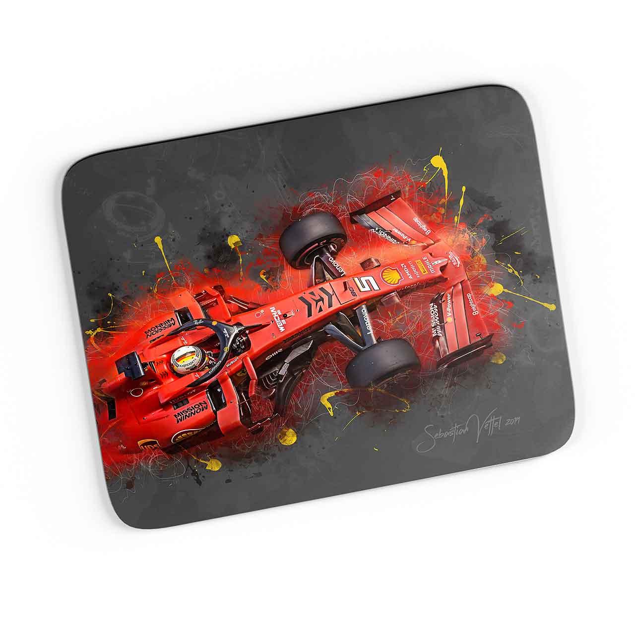 Artwork Mousepad Formel 1 Sebastian Vettel Ferrari 2019 Mousepads Formula 1 Gasoline Gallery