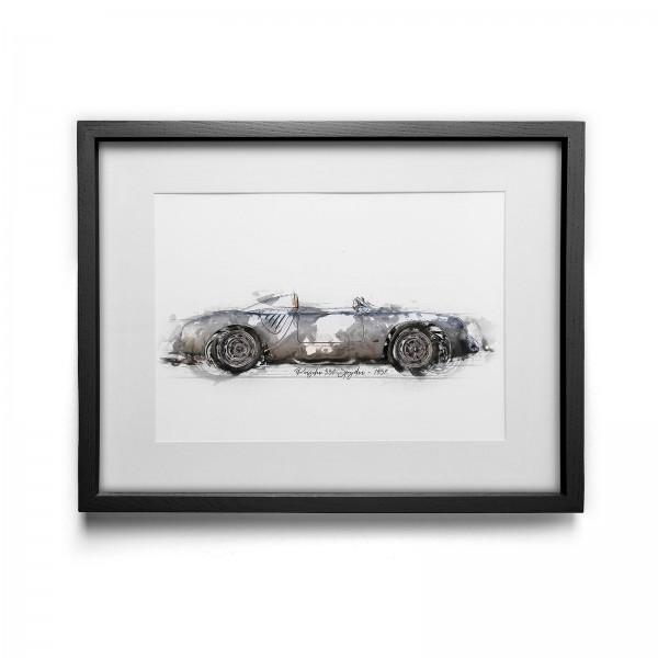Kunstdruck mit Rahmen Motiv: Porsche 550 Spyder - 1957