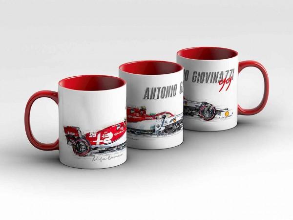 Tasse Motiv: Formel1 Antonio Giovinazzi - Alfa Romeo Racing - Silhouette Kaffeebecher