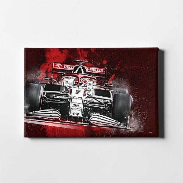 Artwork Leinwanddruck Motiv: Formel1 Kimi Raikkonen - Alfa Romeo Racing Orlen - 2021