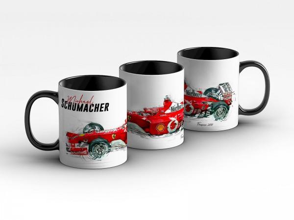 Tasse Motiv: Formel1 Michael Schumacher - Scuderia Ferrari - 2001 Silhouette Kaffeebecher