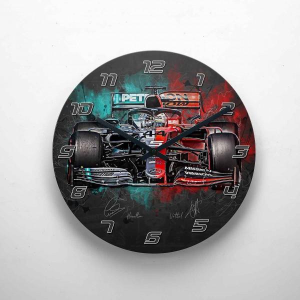 Wanduhr Motiv: Lewis Hamilton - Sebastian Vettel - Mercedes - Ferrari - 2019