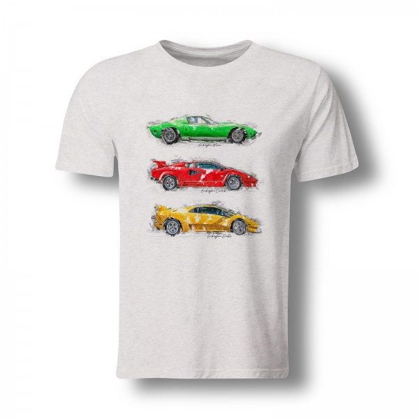 T-Shirt - Lamborghini Miura P400 SV - Countach - Diablo