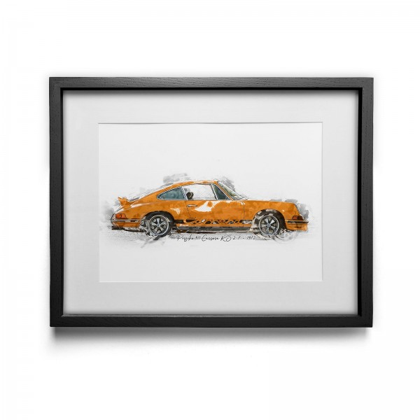 Artwork Print - framed - Porsche 911 Carrera RS 2.7 - 1973 yellow