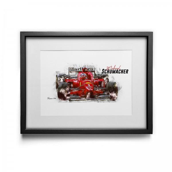 Kunstdruck mit Rahmen Motiv: Michael Schumacher - Scuderia Ferrari - 1996