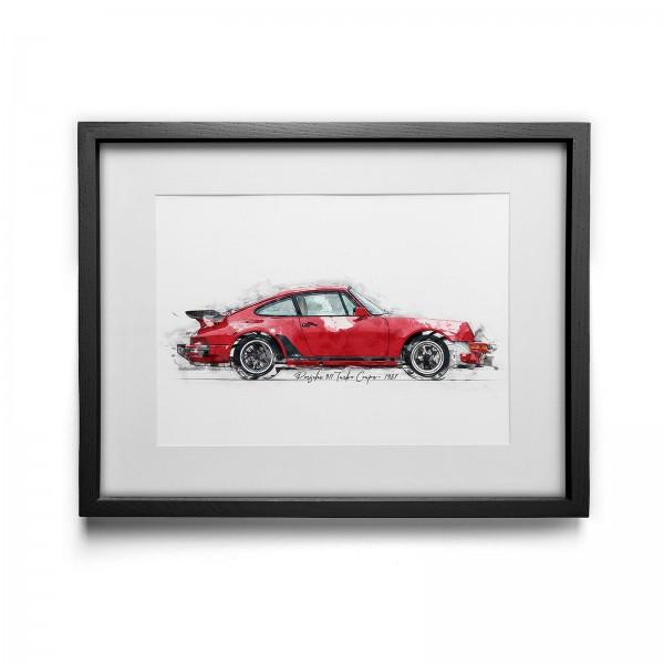 Kunstdruck gerahmt - Porsche 911 Turbo Coupe - 1987