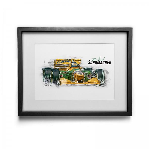 Kunstdruck mit Rahmen Motiv: Michael Schumacher - Benetton - 1993