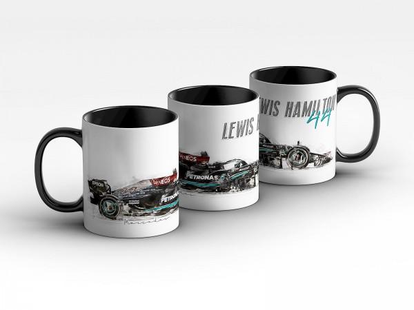 Formel 1 Tasse - Lewis Hamilton - Mercedes-AMG Petronas Formula Team 2021 - Silhouette Kaffeebecher